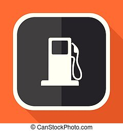 Petrol vector icon. Flat design square internet gray button on orange background.