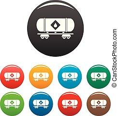 Petrol wagon icons set color