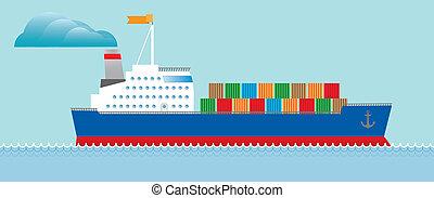 petroleiro, navio carga, com, recipientes