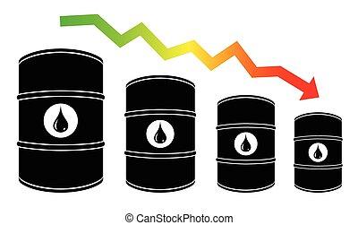 Petroleum barrel price falls down illustration