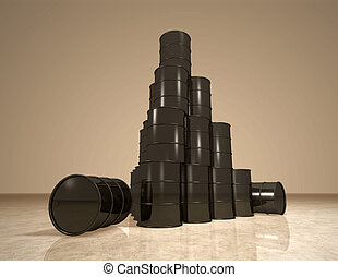 Petroleum barrels pyramid - Small stack of oil cans on...