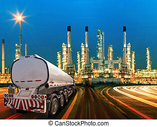 petroleum container truck and beautiful lighting of oil...