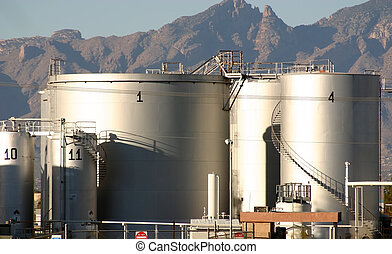 Petroleum Depot - Petroleum product storage tanks outlined ...