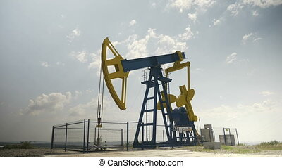 Petroleum industry equipment extracting and drilling oil on...