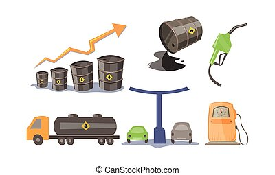 Petroleum industry icons set, oil production and transportation, gas station vector Illustration on a white background