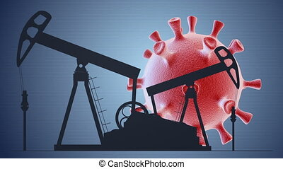 Oil pump with coronavirus cell on blue background. Impact of coronavirus covid-19 on oil and gas market.