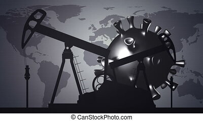 Oil pump with coronavirus cell on World map background. Impact of coronavirus covid-19 on oil and gas market.