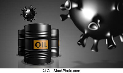 Petroleum industry in crisis - Three  oil barrels with cells...