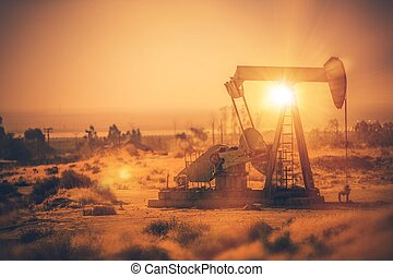 Petroleum Industry Pumpjack Overground Drive. Piston Pump and the Oil Well. California, United States of America.