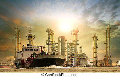 petroleum lpg gas container ship and oil refinery plant...