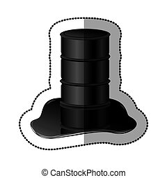 petroleum of barrel with spilled oil icon