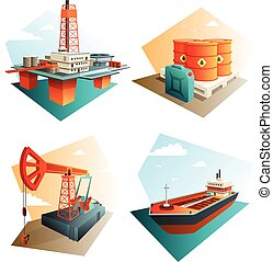 Petroleum Oil Industry 4 Isometric Icons - Petroleum...