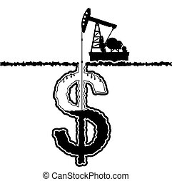 Petroleum oil pump - The silhouette of the oil pump and well...
