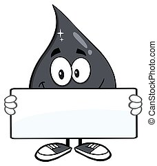 Petroleum Or Oil Drop Cartoon Character Holding A Blank Sign