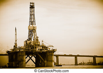 Petroleum platform on the Guanabara bay in the city of Rio ...