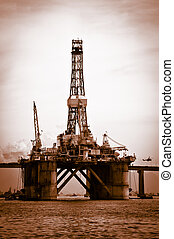Petroleum platform on the Guanabara bay in the city of Rio...