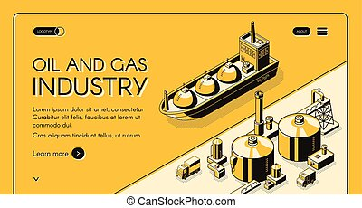 Petroleum refining company website vector template - Oil and...