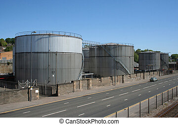 petroleum storage tanks beside road