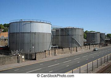 petroleum storage tanks beside road