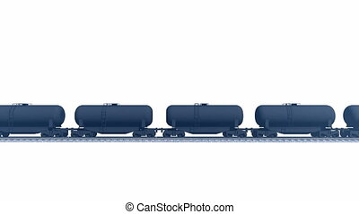 Petroleum tank cars white backgrond - Side view of cargo...