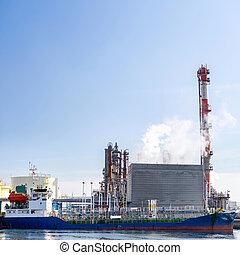 petroliera, barca, chimico, fabbrica
