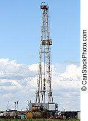 petrolio facendo, autotreno, macchinario, su, campo