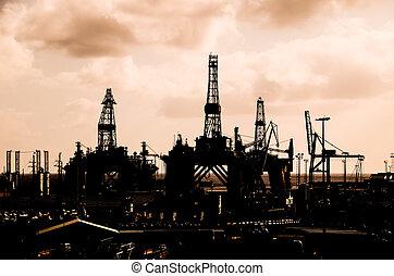 petrolio facendo, autotreno, silhouette