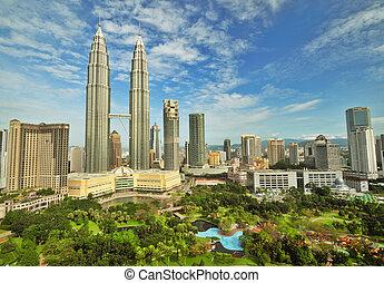 petronas, gemelo domina, en, malasia