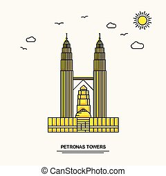 PETRONAS TOWERS Monument Poster Template. World Travel Yellow illustration Background in Line Style with beauture nature Scene