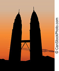 Petronas Twin Towers in Kuala Lumpur - Illustration of of...