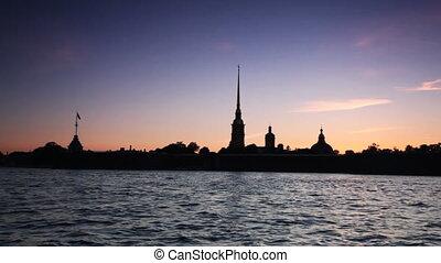 Petropavlovskaya Fortress and Neva River in white nights,...