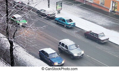 Petrozavodsk cityscape with view above at roof traffic, Russia