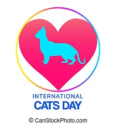 pets, кот, cats, внутренний, sihouette, сердце, вектор, illustration., форма, символ, люблю