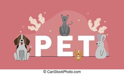 pets and lettering characters animation ,4k video animated