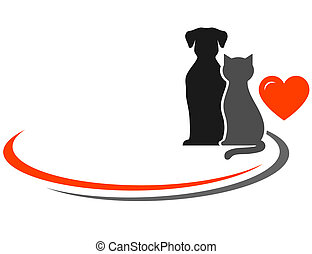 pets and place for text - pets silhouettes, red heart and...