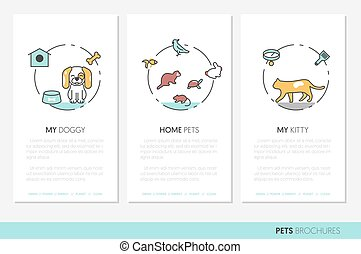 Pets Business Brochure. Linear Thin Line Vector Icons with Dog Cat Bird and Fish