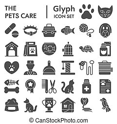 Pets care glyph icon set, vet symbols collection, vector sketches, logo illustrations, animal signs solid pictograms package isolated on white background, eps 10.