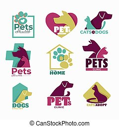 Pets clinic and shelter isolated icons dog and cat
