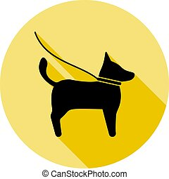 Pets, dog icon in long shadow style