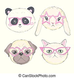 Pets face, dog, cat, and rabbit