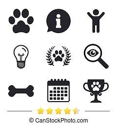 Pets icons. Dog paw sign. Winner laurel wreath.