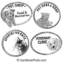 Pets label or stamp set