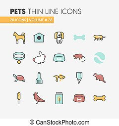 Pets Linear Thin Line Vector Icons Set with Dog Cat Bird and Fish