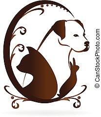Pets love heart shape logo