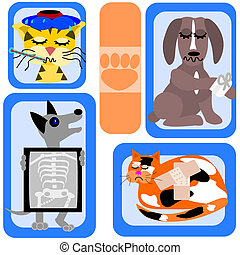 Pets need help - Cartoon illustration of pets that do not...