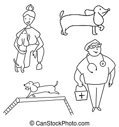 Pets, owner, veterinarian and dog training. Vector.