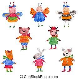 Pets. Set of decorative elements - Colorful handmade...