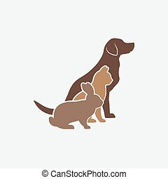 Pets silhouettes. dog, cat and rabbit. logo of pet store or veterinary clinic