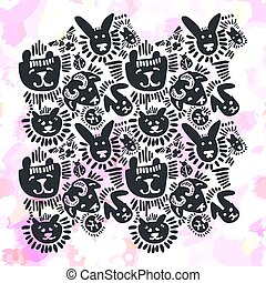 Pets stylish seamless textile ink brush strokes design in doodle grunge texture style