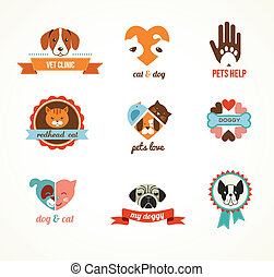 Pets vector icons - cats and dogs elements - Pets vector...
